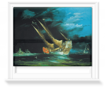 'A trading junk at sea' Roller Blind