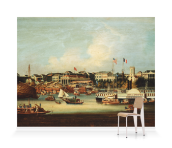 'The American paddle steamer Willamette at Canton' Wallpaper Mural