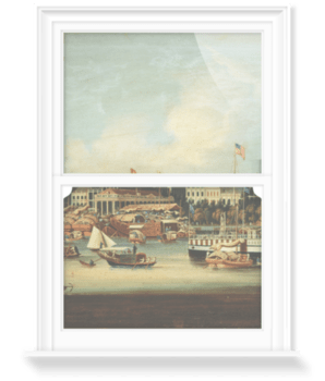 'The American paddle steamer Willamette at Canton' Decorative Window Film