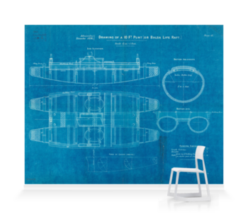 'Plan of 10ft punt or balsa life raft' Wallpaper Mural