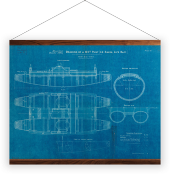 'Plan of 10ft punt or balsa life raft' Wall Hanging