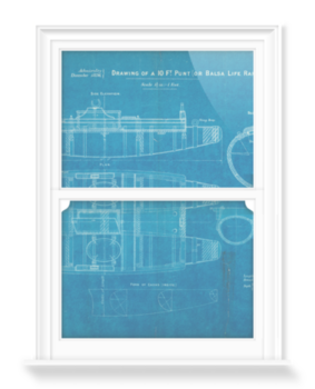 'Plan of 10ft punt or balsa life raft' Decorative Window Film