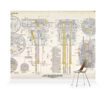 '6-inch Triple Mounting Marck XXIII plan relating HMS 'Belfast'' Wallpaper Mural