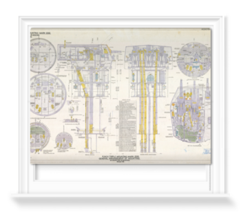 '6-inch Triple Mounting Marck XXIII plan relating HMS 'Belfast'' Roller Blind
