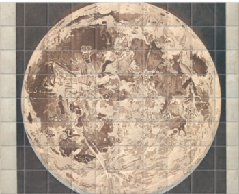 'Telescopic appearance of the moon, backlit' Ceramic Tile Mural