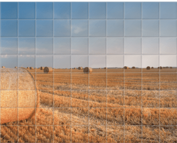 'Round Wheat Bales In Field After Harvesting' Ceramic Tile Mural