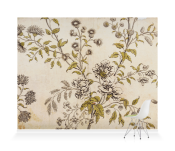 'Woodblock Floral' Wallpaper Mural