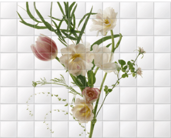 'February Flowers' Ceramic Tile Mural