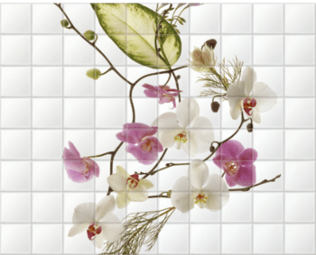 'Delicate Flowers' Ceramic Tile Mural