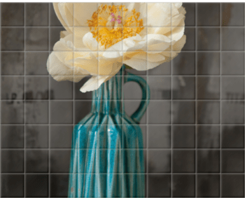 'White Petals, Blue Vase' Ceramic Tile Mural
