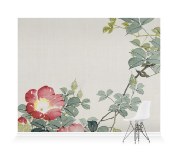 'Wasp, Red Flower & Foliage' Wallpaper Mural