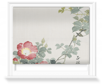 'Wasp, Red Flower & Foliage' Roller Blind
