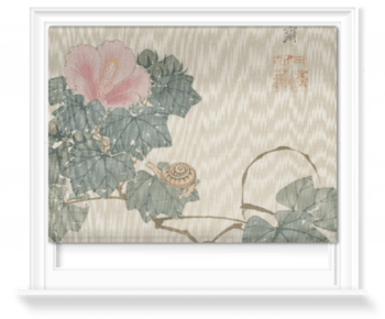 'Snail, Pink Flower and Foliage' Roller Blind