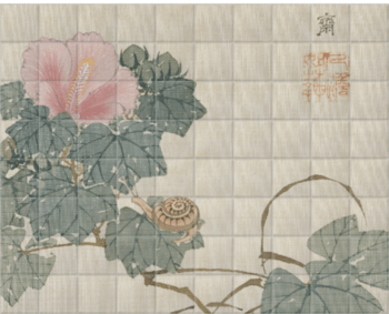 'Snail, Pink Flower and Foliage' Ceramic Tile Mural