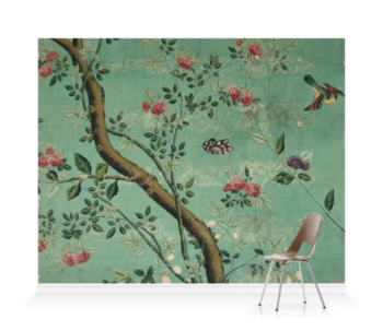 'Camellia Chinoiserie Wallpaper Fragment' Wallpaper Mural