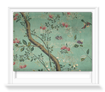 'Camellia Chinoiserie Wallpaper Fragment' Roller Blind