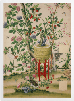'Flower vase on stool with flowering tree' Art Prints
