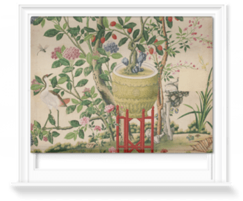 'Flower vase on stool with flowering tree' Roller Blind