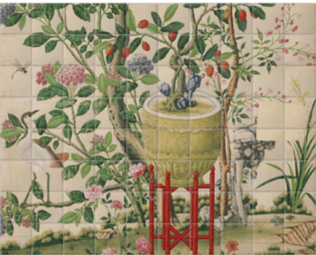 'Flower vase on stool with flowering tree' Ceramic Tile Mural