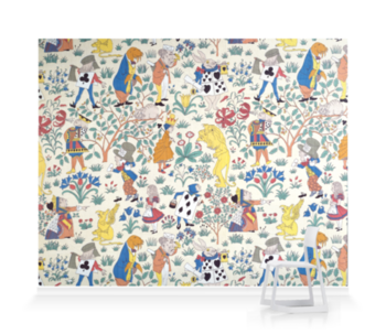 'Alice in Wonderland Textile Design' Wallpaper Mural