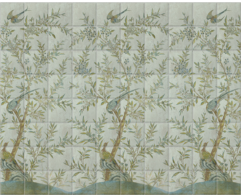 'Wotton-Under-Edge Chinoiserie Mist Green' Ceramic tile murals