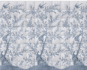 'Wotton-Under-Edge Chinoiserie Clay Blue' Ceramic tile murals