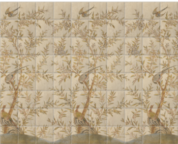'Wotton-Under-Edge Chinoiserie Parchment' Ceramic tile murals