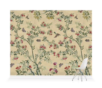 'Camellia Chinoiserie Parchment' Wallpaper murals