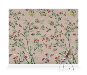 'Camellia Chinoiserie Plaster Pink' Wallpaper murals