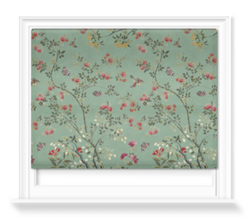 'Camellia Chinoiserie Jade Green' Roller blinds