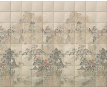 'Ming Mountain Scenic Linen' Ceramic tile murals