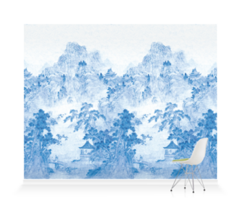 'Ming Mountain Scenic China Blue' Wallpaper murals