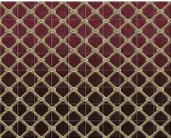 'Uppark Trellis Bordeaux Red' Ceramic tile murals