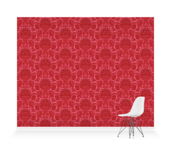 'Lydiard Damask Vermillion Red' Wallpaper murals