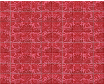 'Lydiard Damask Vermillion Red' Ceramic tile murals