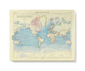 'World Surface Routes' Canvas Wall Art