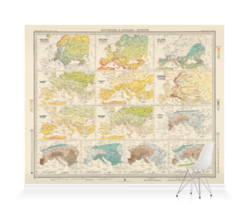 'Isotherms and Isobars - Europe' Wallpaper Mural