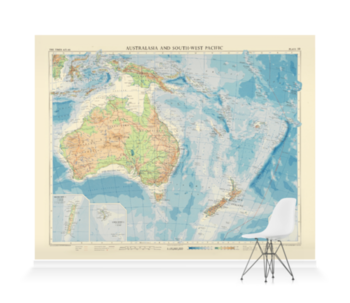 'Australasia and South-West Pacific' Wallpaper Mural