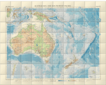 'Australasia and South-West Pacific' Ceramic Tile Mural
