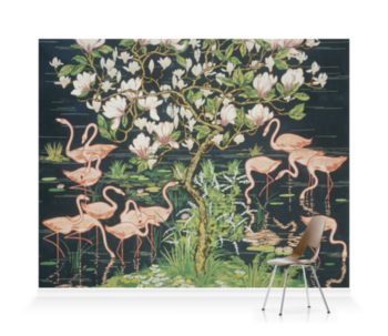 'Flamingoes and Magnolia Panel' Wallpaper murals