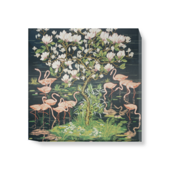 'Flamingoes and Magnolia Panel' Canvas wall art
