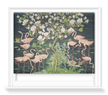 'Flamingoes and Magnolia Panel' Roller blinds