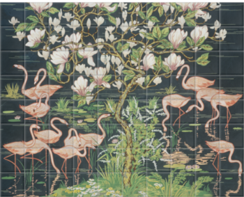 'Flamingoes and Magnolia Panel' Ceramic tile murals