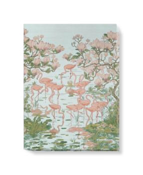 'Flamingoes and Magnolia Scenic Aqua' Canvas wall art