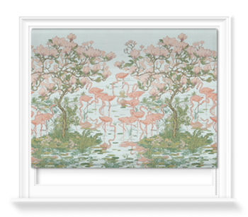 'Flamingoes and Magnolia Scenic Aqua' Roller blinds