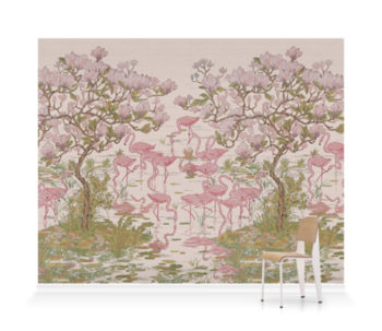Flamingoes and Magnolia Scenic Plaster Pink