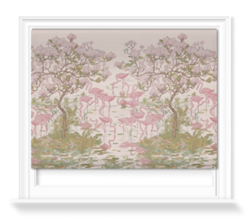 'Flamingoes and Magnolia Scenic Plaster Pink' Roller blinds