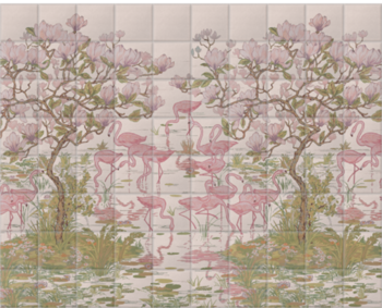 'Flamingoes and Magnolia Scenic Plaster Pink' Ceramic tile murals