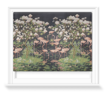 'Flamingoes and Magnolia Scenic Midnight' Roller blinds
