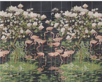 'Flamingoes and Magnolia Scenic Midnight' Ceramic tile murals